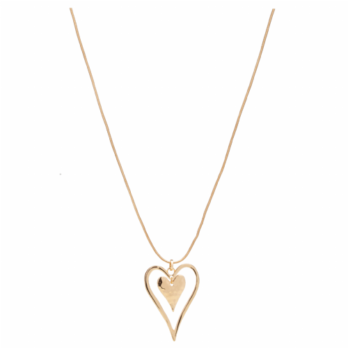Bisoux Jewellery Long Gold Double Heart Necklace